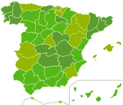 Mapa de España con las farmacias de guardia
